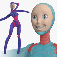 3d model rigged female robot android