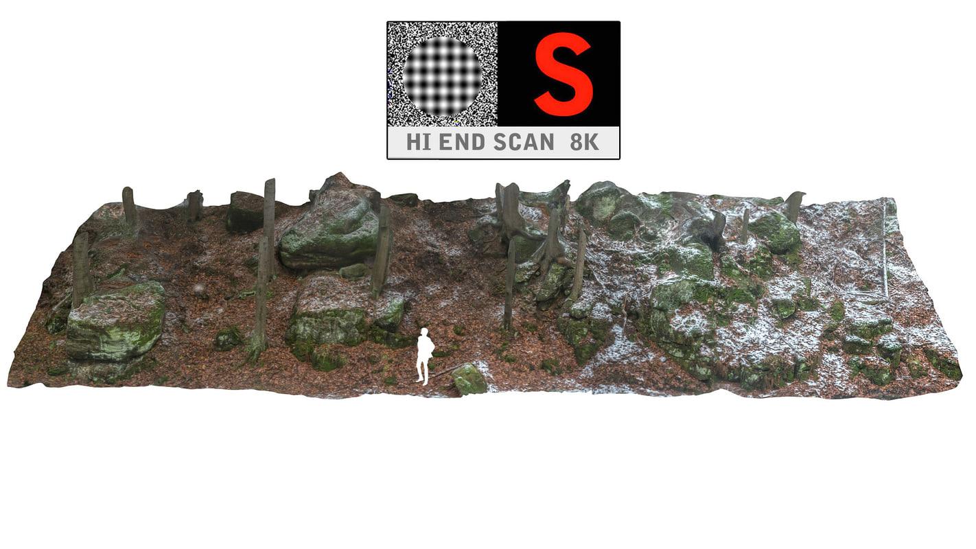 stone boulders scanned 3d obj