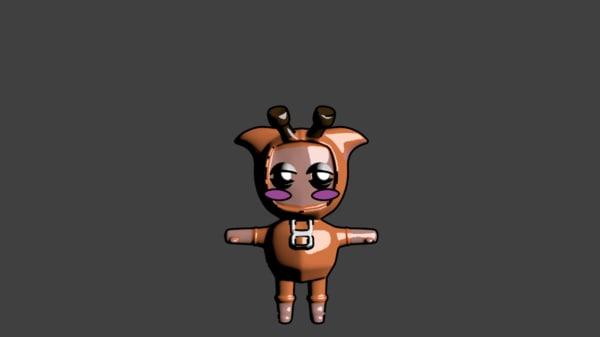 cute animal character 3d model