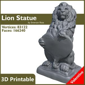 lion statue valentine 3d model