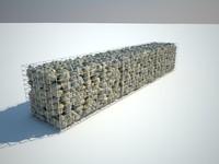 Gabion stone wall