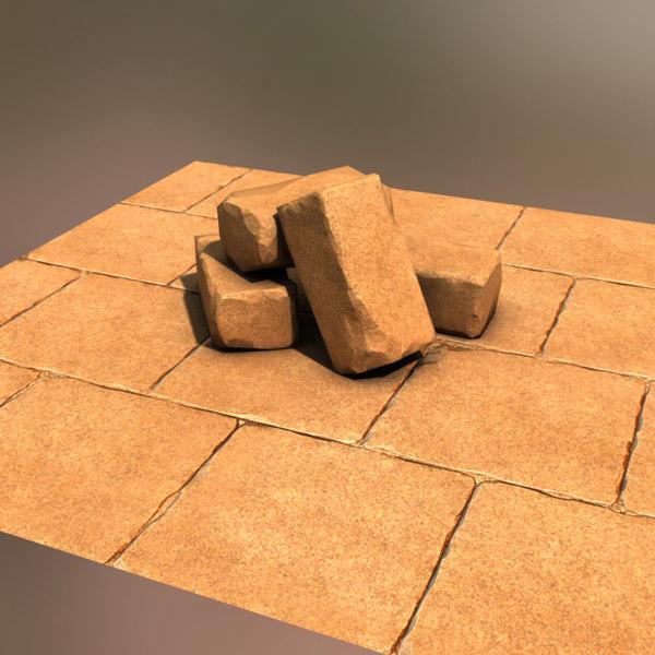 3d stone set model