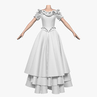 wedding dress 012 female 3d max