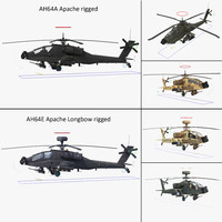 AH64E Apache Longbow AH64A Apache Helicopters Rigged Collection