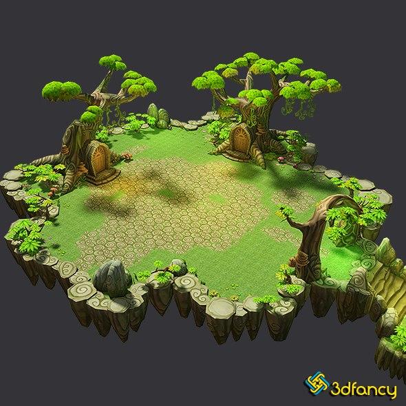 3d fantasy floating islands environment model