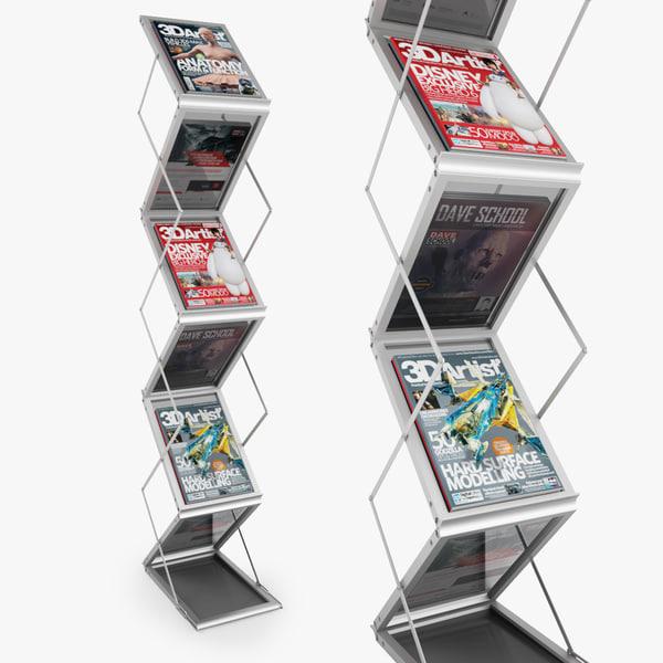 folding brochure stand 3d max