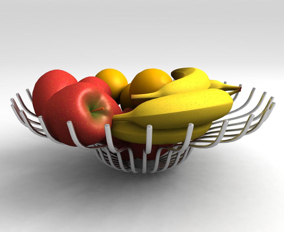 3d model chrome fruit bowl