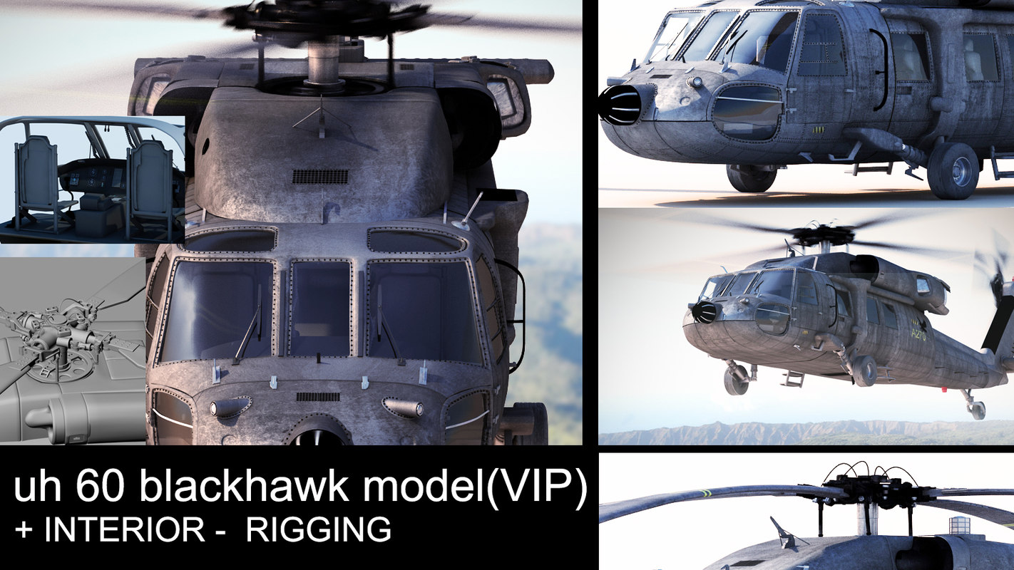 uh-60 black hawk vip 3d max