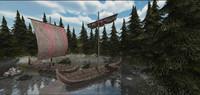 viking medieval ships 3d model