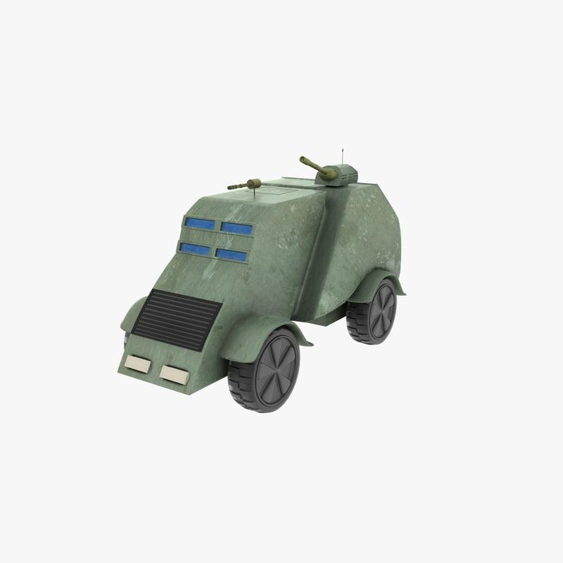 cartoon armored car 3d model