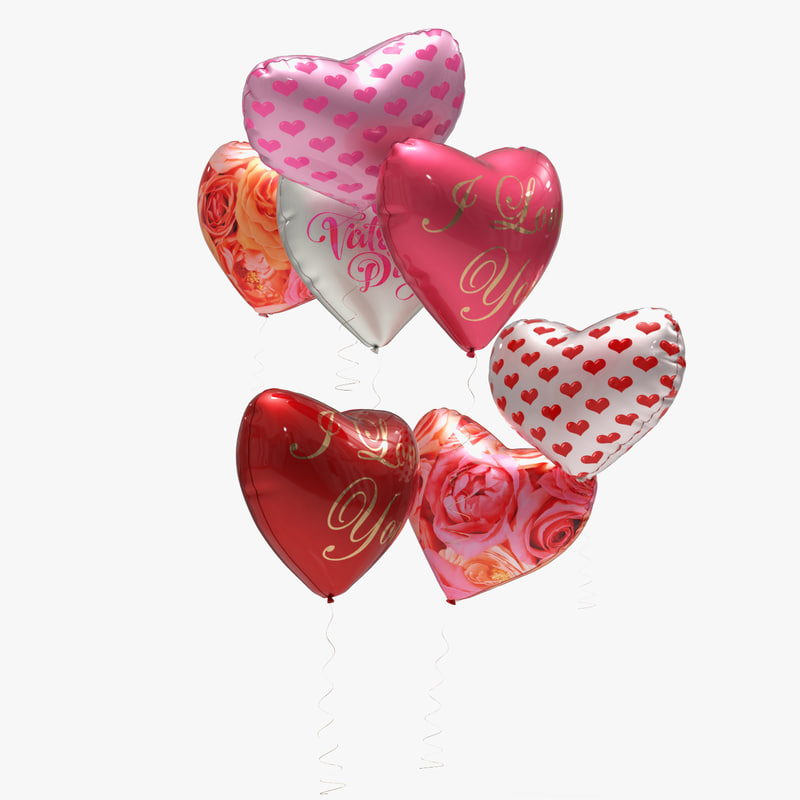 3ds max heart balloons