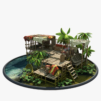 3ds max fishing house