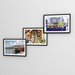 3dsmax triple photo frame
