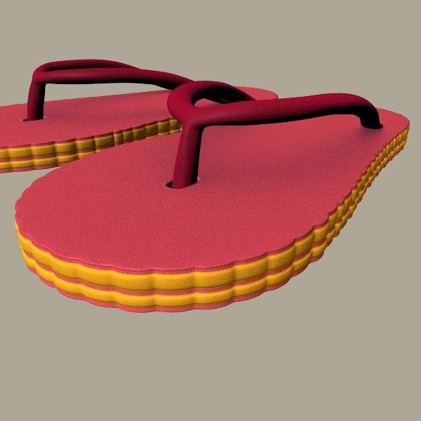3d rubber slippers model