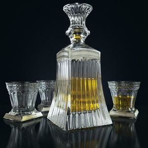 3d set whiskey linea argenti model