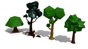 4 trees 3d model
