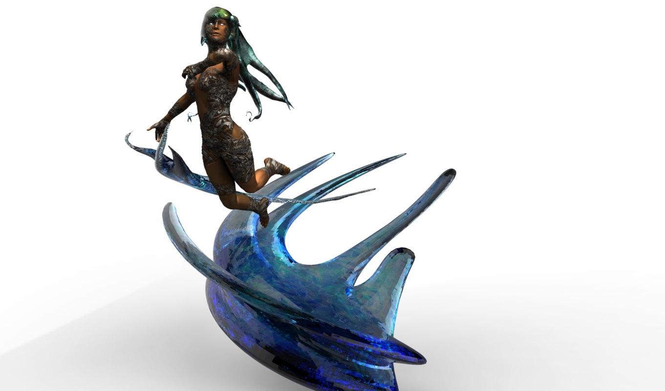 3d maiden goddess water