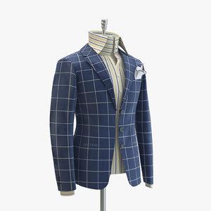 women blue suit domenico 3d model