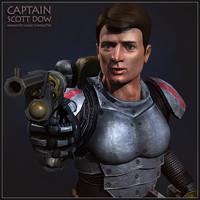 captain scott dow character 3d model
