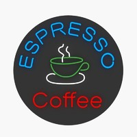 3d model neon sign espresso