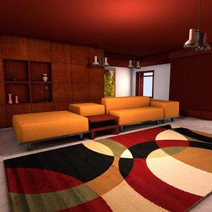 c4d living modern lounge room