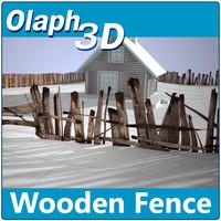 3d old wooden fence 4k model