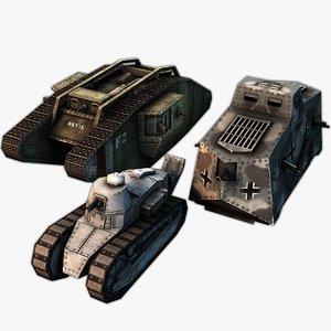 3d 3ds world war tank