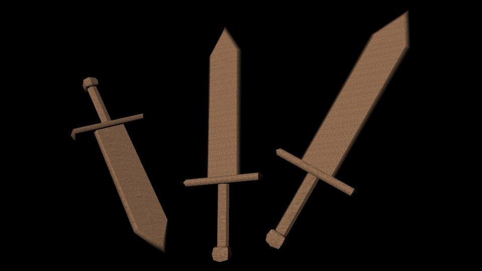 3d wooden sword