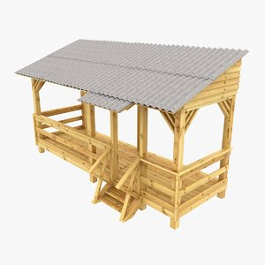 wooden veranda 3d max