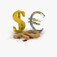 3d model dollar financial symbols