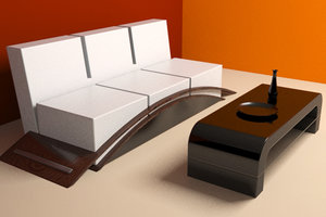 3d max modern design couch coffee table