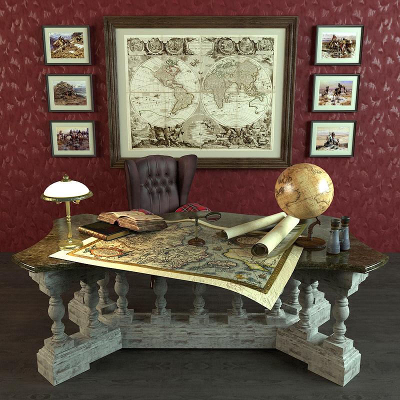 3d antique desk library