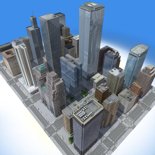 3d city building blocks real time model