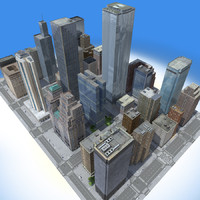 3d city building blocks real time model
