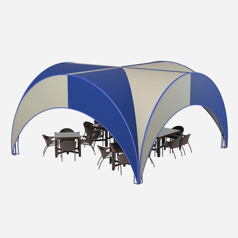outdoor truss frame cafe 3d model