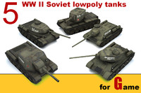 ww ii soviet tanks 3d model