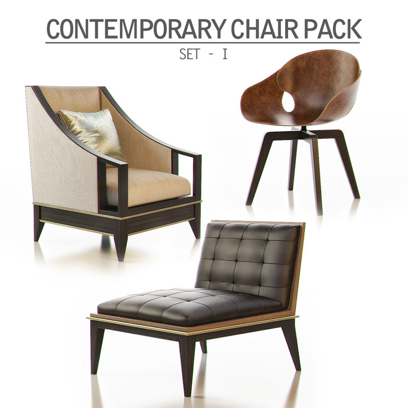 contemporary chair pack - 3d model