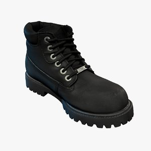 leather male boot cleaned 3d model