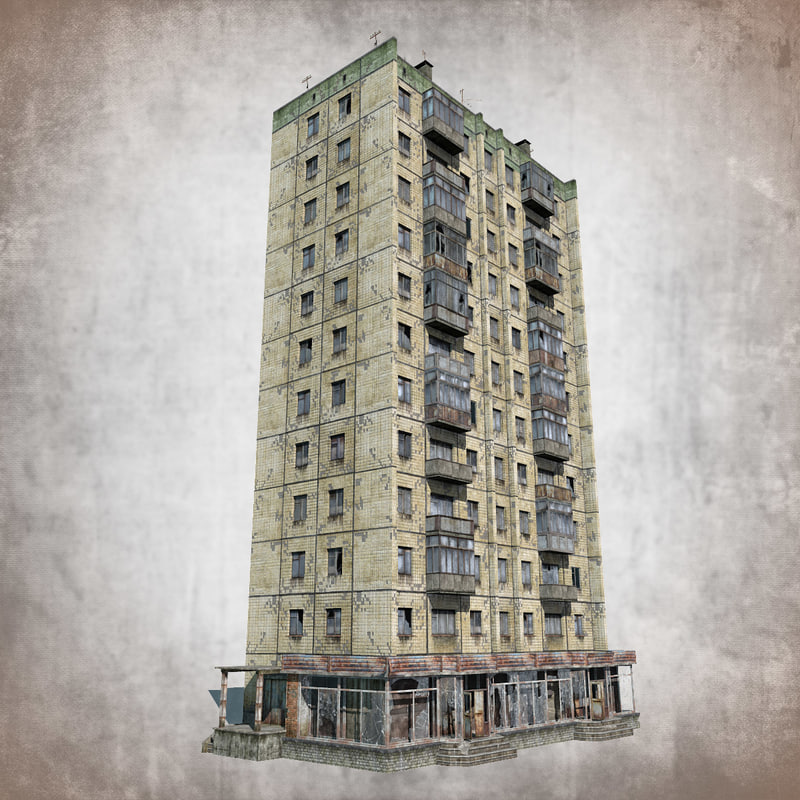 3d model abandoned 12-storey russian house