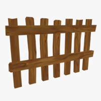 3ds ready cartoon wooden fence