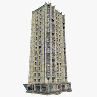 3d abandoned 16-storey russian house