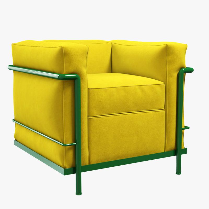 cassina lc2 armchair 3d model