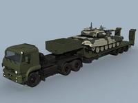 kamaz-65225 t-90 combo battle tank 3d model