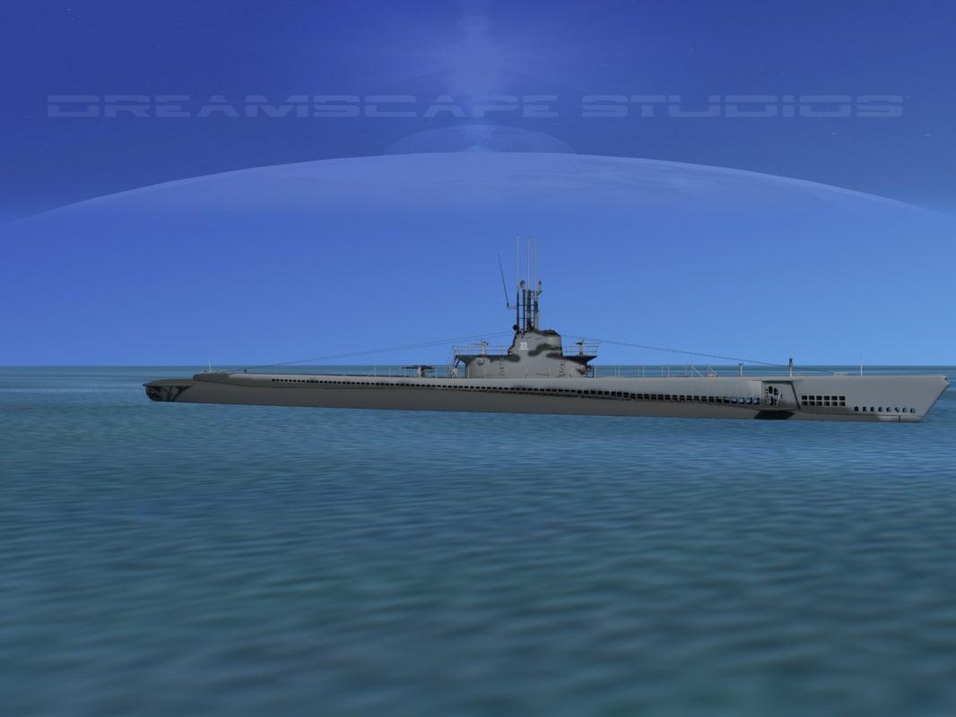subs balao class submarines 3d model