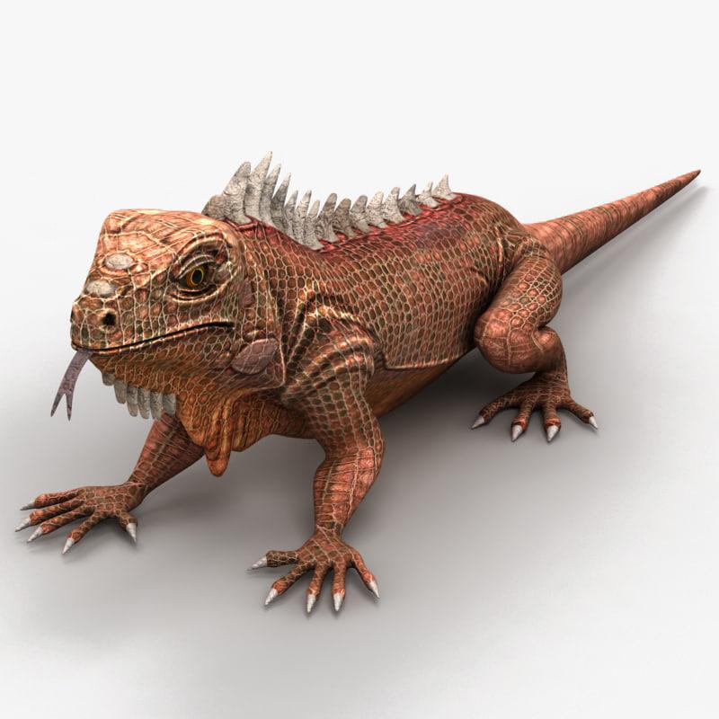 3d model iguana lizard