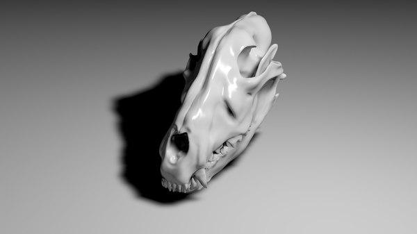 3d obj wolf skull