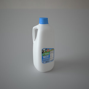 obj plastic half milk bottle