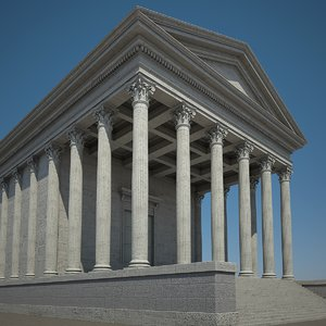 3d roman temple model