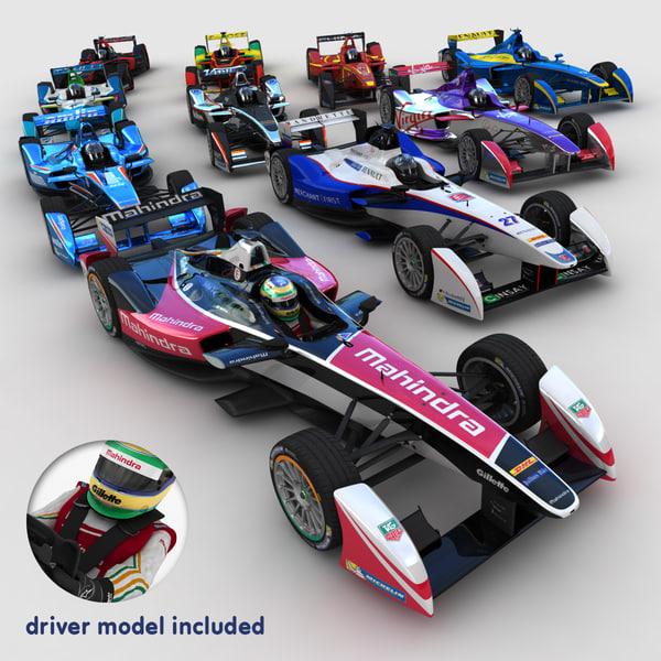 3d model 2014 formula e race cars