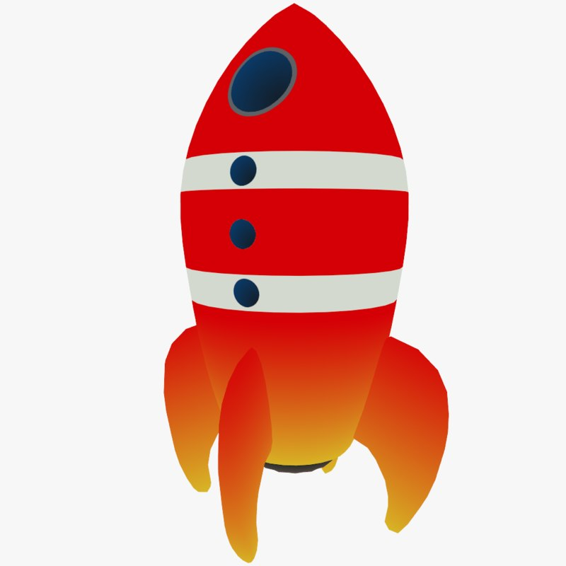 3d cartoon space rocket